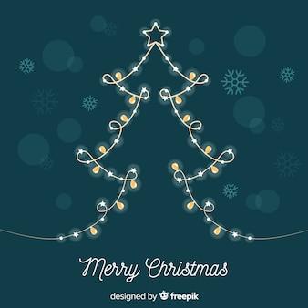 Fondo árbol de navidad guirnalda de luces