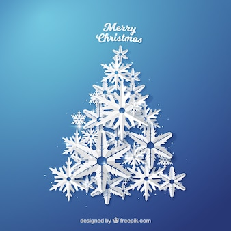 Fondo de árbol de navidad hecho de copos de nieve