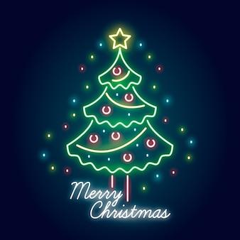 Fondo de árbol de navidad de neón