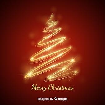 Fondo árbol navidad oro