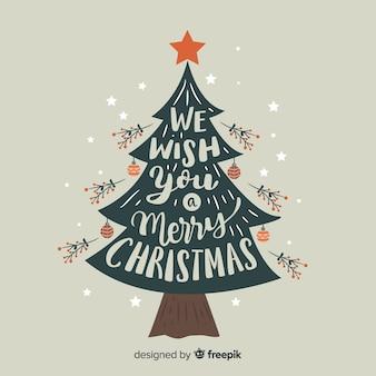 Fondo de árbol navidad plano