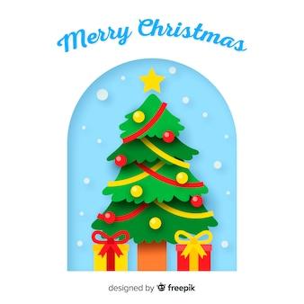 Fondo árbol de navidad plano