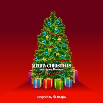 Fondo árbol de navidad realista
