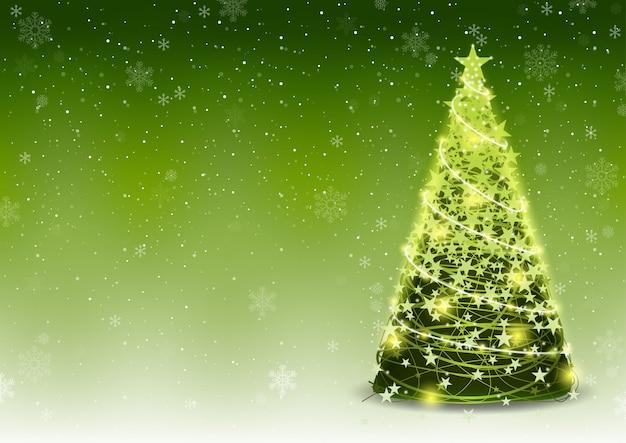 Fondo de árbol de navidad verde con nieve que cae