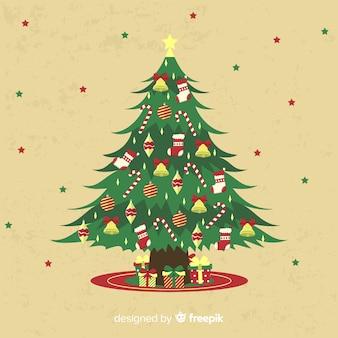 Fondo de árbol de navidad vintage