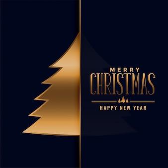 Fondo de árbol de oro premium de feliz navidad
