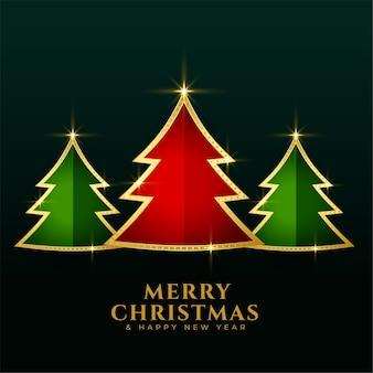 Fondo de árboles dorados de navidad verde rojo