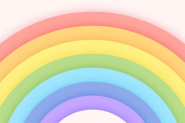 Fondo de arco iris de color pastel en un cielo de corte de papel brillante. concepto de fondo para niñas.
