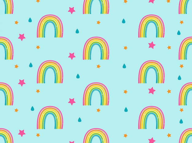 Fondo con arco iris, estrellas y gotas de lluvia