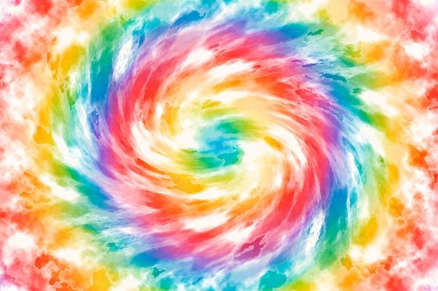 Fondo de arco iris de teñido anudado en acuarela pintado a mano