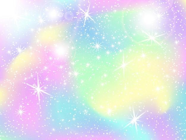 Fondo de arco iris de unicornio. cielo holográfico en color pastel. patrón de sirena brillante en colores princesa. ilustración vectorial. fondo colorido degradado de fantasía con malla de arco iris.