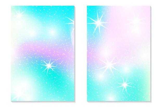 Fondo de arco iris de unicornio. cielo holográfico en color pastel. patrón de sirena de holograma brillante en colores princesa. ilustración vectorial. fondo colorido degradado de fantasía de unicornio con malla de arco iris.