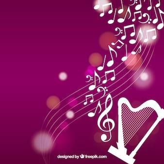 Fondo de arpa con notas musicales