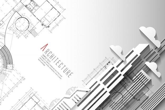 Fondo de la arquitectura y del modelo. estilo del arte del papel