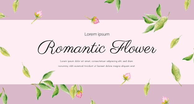 Fondo de arreglo de acuarela rosa rosa y hojas para tarjeta, tarjeta de felicitación, calendario, banner, fondo de pantalla.