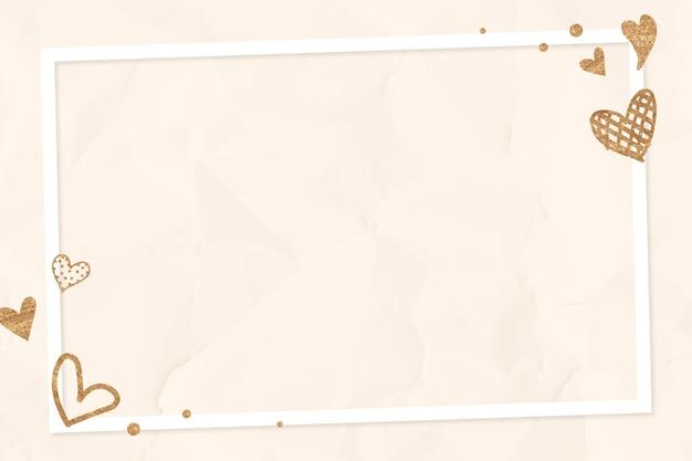 Fondo arrugado beige del vector del marco del corazón reluciente de san valentín