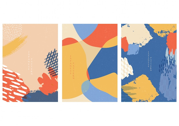 Fondo de arte abstracto con elementos de trazo de pincel. plantilla de pincel de pintura en estilo japonés.