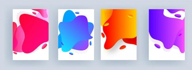 Fondo de arte abstracto fluido en cuatro opciones de color.