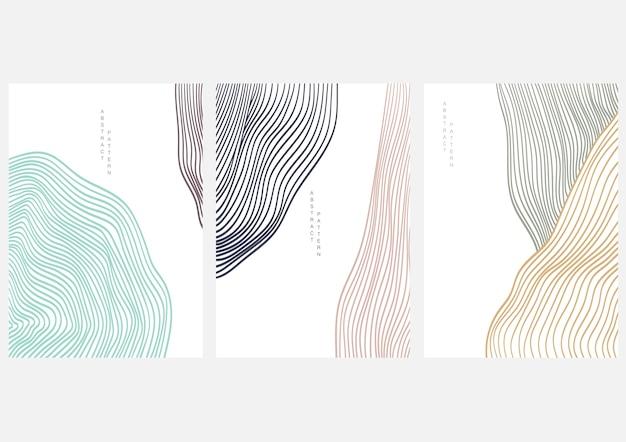 Fondo de arte abstracto con paisaje de arte lineal