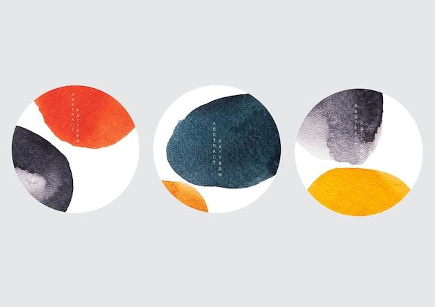 Fondo de arte abstracto con patrón de onda japonesa. textura de acuarela con iconos asiáticos. diseño de logotipo de trazo de pincel.