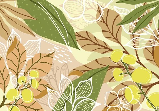 Fondo de arte floral tropical abstracto