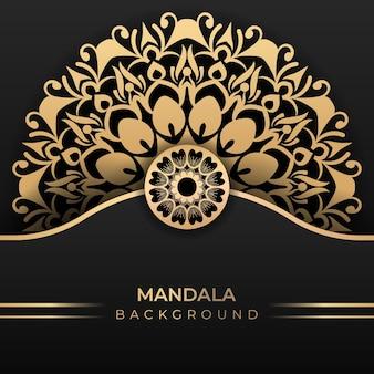Fondo de arte mandala islámico de lujo en estilo color dorado