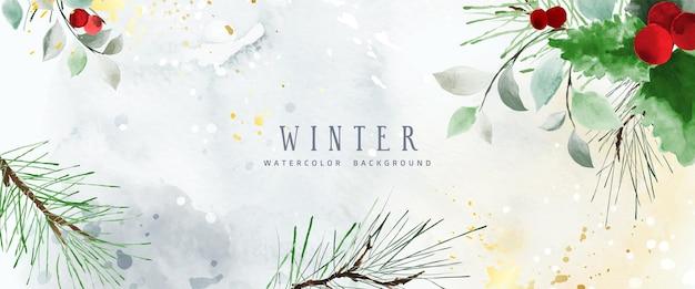 Fondo de arte natural acuarela de invierno con flores y hojas de temporada. acuarela decorativa pintada a mano con gotas de oro. adecuado para diseño de encabezado, banner, portada, web, tarjetas, decoración de paredes.