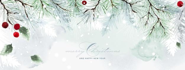 Fondo de arte natural acuarela de navidad e invierno. hojas de acebo y ramas de pino sobre la nieve cayendo con acuarela pintada a mano. adecuado para diseño de encabezado, pancarta, portada o tarjetas.