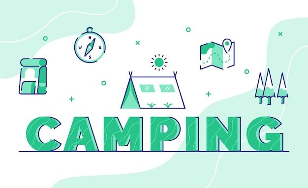 Fondo de arte de palabra de tipografía de camping