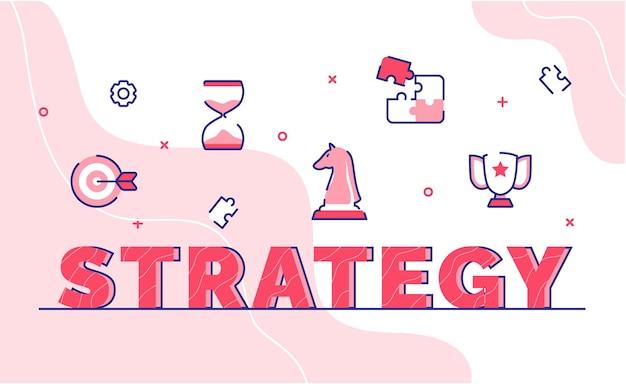 Fondo de arte de palabra de tipografía de estrategia