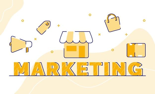 Fondo de arte de palabra de tipografía de marketing