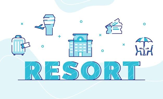 Fondo de arte de palabra de tipografía de resort