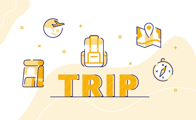 Fondo de arte de palabra de tipografía de viaje