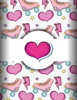 Fondo de arte pop con patines y corazones