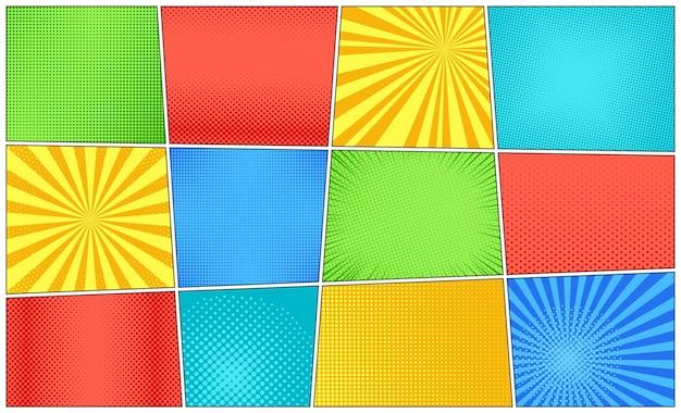 Fondo de arte pop. textura de dibujos animados con trama de semitonos y rayos de sol. ilustración vectorial.