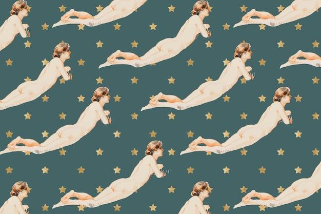 Fondo de arte de técnica mixta desnuda femenina acostada vintage