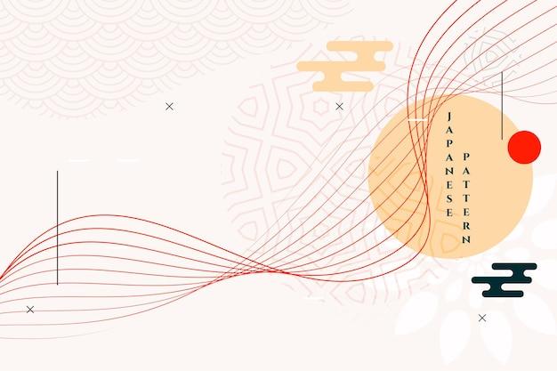 Fondo de arte tradicional japonés con líneas onduladas
