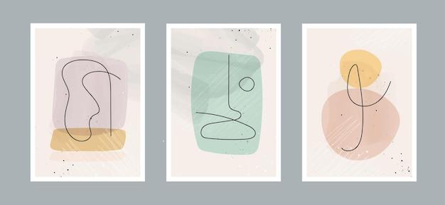 Fondo de artes minimalistas de línea abstracta moderna con diferentes formas para decoración de paredes