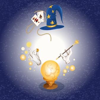 Fondo con artículos de magos