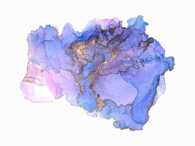Fondo artístico del diseño del chapoteo de la gota líquida colorida de la tinta del alcohol de la acuarela con el polvo dorado azul ...