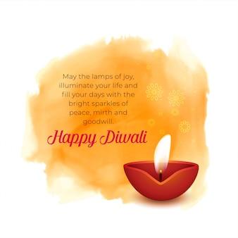 Fondo artístico diwali con diya y acuarela naranja