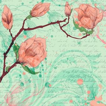 Fondo artístico con flores dibujadas a mano