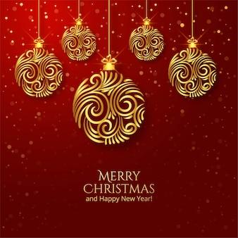 Fondo artístico hermoso de la bola de oro de la navidad