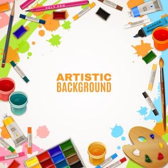 Fondo artístico con herramientas para pinturas.