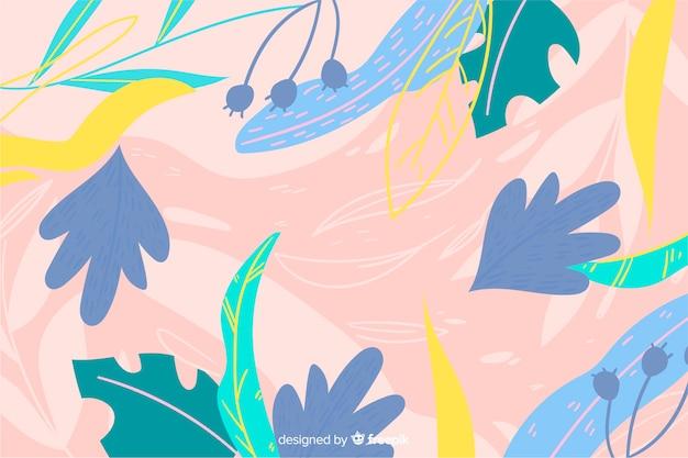 Fondo artístico de hojas dibujadas a mano