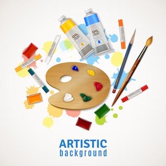 Fondo artístico con paleta y pinturas.