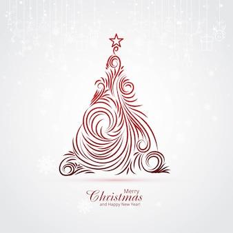 Fondo artístico de la tarjeta del árbol de navidad