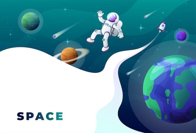 Fondo de astronauta en el espacio.