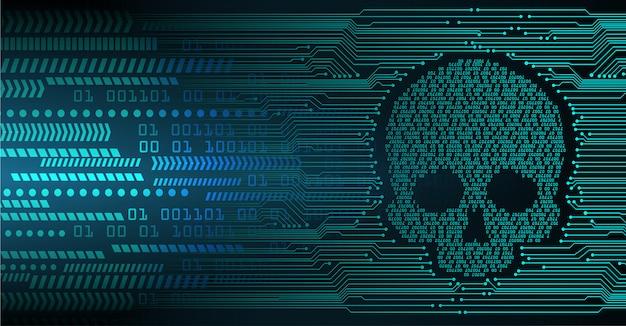 Fondo de ataque de hacker cibernético, vector cráneo