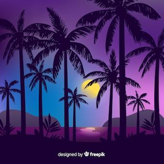 Fondo de atardecer en la playa con siluetas de palmeras